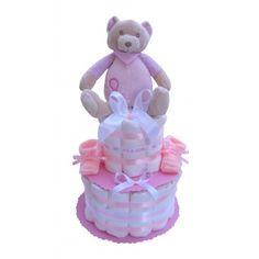 Gâteau de couches avec une jolie peluche doudou ourson  rose Cadeau Baby Shower, Children, Plush, Bebe, Young Children, Boys, Kids, Child, Kids Part