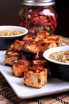 Food: Eleven Delish Tofu Recipes  (via Olives for Dinner | Grilled Sambal Oelek Tofu with Peanut Butter Sauce)