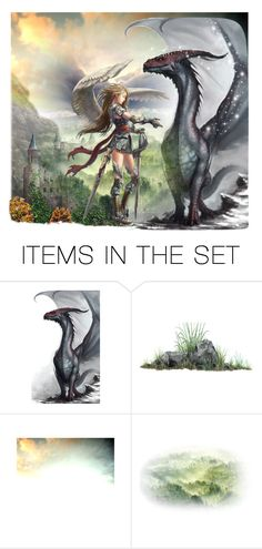 """Dragon Rider"" by justange ❤ liked on Polyvore featuring art"
