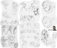 """Just some recent sketches I've done in the previous year, showing everyone what I do on my spare time. Here I try focusing more on anatomy poses as well as a """"no looking"""" challenge most artists will sometimes attempt, as well as one where I use my left hand to draw."""