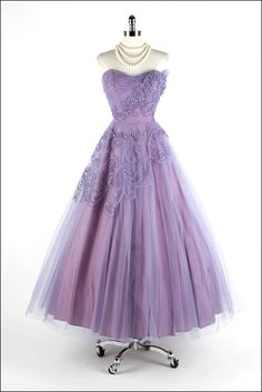 d8af8c2302bae Evening Dress, Kay Selig (New York): ca. 1950's, tulle, acetate lining,  soutache and sequin trim, bodice with stays. Nora Gholson · purple vintage.