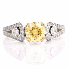 The yellow gold yellow sapphire band sparkles and shines with of round yellow sapphires. Yellow Diamond Engagement Ring, Platinum Engagement Rings, Antique Engagement Rings, Heart Ring, Diamond Earrings, Fashion Jewelry, Wedding Rings, Fancy, Top