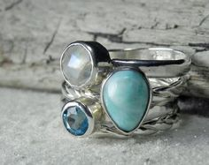 Sterling Silver Larimar Ring Larimar Blue by FantaSeaJewelry