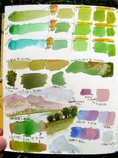 A green study :: What's more natural than that?  :: Mary McAndrew - Watercolor - practice mixing - pg 1