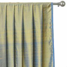 Faux Silk Curtains, Custom Curtains, Drapery Panels, Panel Curtains, Blue Cushion Covers, Gold Fabric, Gold Silk, Blue Bedding, Box Pleats
