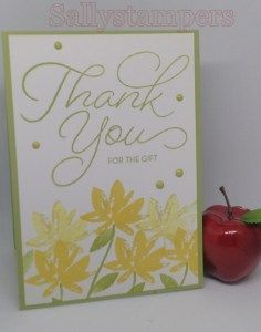 Celebrating Sale-A-Bration Blog Hop Thank you for the gift is stamped in Pear Pizzazz which is the same as the base cardstock. The flowers are stamped (and stamped off once) in Daffodil Delight. The leaves and stems are also Pear Pizzazz.  A few Pear Pizzazz (Subtles) Enamel Shapes were added for a little dimension.