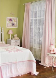Harmony Lace Curtain Panels by Heritage Lace. Perfect for a little girls room! #windows #curtains #girls #decor