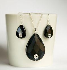 Large black onyx tear drop shaped sterling silver jewelry set by byVellamo, $42.00