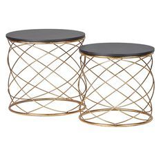 These twin side tables embody modern French design with gold finished loops supporting the black table tops they are a beautiful example of contemporary French furniture. French Furniture, Table Furniture, Luxury Furniture, Dresser Table, Gold Furniture, Glass Furniture, Retro Furniture, Furniture Stores, Copper Side Table
