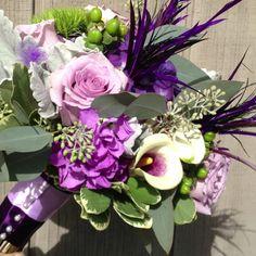 Ocean song roses, Picasso calla, hydrangea green hypericum berries, dusty miller,
