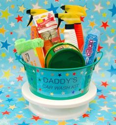 Diy fathers day gift ideas fathers day gift car wash bucket negle Image collections