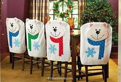 Ideas for Christmas decor 3 Christmas Sewing, Christmas Projects, Handmade Christmas, Holiday Crafts, Christmas Time, Christmas Chair Covers, Christmas Decorations, Christmas Ornaments, Diy Weihnachten