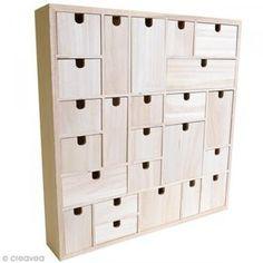 Calendrier de l'Avent en bois à décorer - Géométrique - 40 x 40 cm - Photo n°1