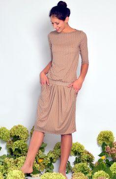 """Knielange Kleider - Kleid """"ÈLAINE"""" Schiffchenkragen -nur noch in UNI - ein Designerstück von LeFeOs bei DaWanda"""
