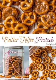 Mini pretzels dipped in butter toffee. The perfect sweet… Butter Toffee Pretzels. Mini pretzels dipped in butter toffee. The perfect sweet & salty treat to satisfy everyone's sweet & salty craving. Snack Mix Recipes, Candy Recipes, Yummy Snacks, Appetizer Recipes, Holiday Recipes, Appetizers, Snack Mixes, Salty Snacks, Sweet Pretzel Recipe