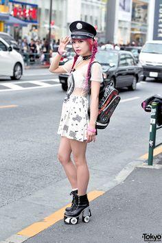 Pink Hair, Glad News Sheer Dress, Sretsis Roller Skate Heels & UNIF Backpack