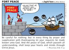 If your mind is being bombarded by fear and worry and doubt, seek the shelter of God's peace by going to Him in prayer. Christian Comics, Christian Cartoons, Funny Christian Memes, Christian Verses, Christian Symbols, Christian Kids, Christian Humor, Biblical Verses, Bible Verses Quotes