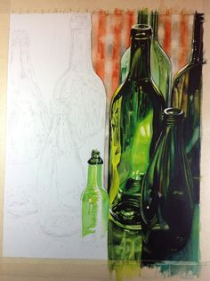How to paint realistic bottles in watercolour