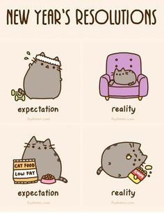 Pusheen new years resolution Fat Cats, Cats And Kittens, Fat Kitty, Kitty Kitty, Crazy Cat Lady, Crazy Cats, Pusheen Love, Pusheen Stuff, Pusheen Gif