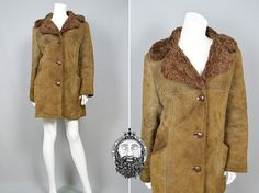 Vintage 70s Womens Genuine Sheepskin Coat Shearling by ZeusVintage