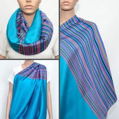 Turquoise Infinity Scarf with colorful striped pattern