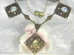 Victorian Style Antiqued Brass And Glass Opal by ATestOfTime, $28.00
