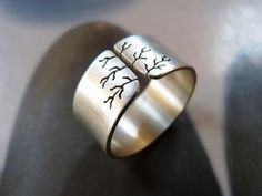 Sycamore tree ring silver ring wide band metalwork by Mirma