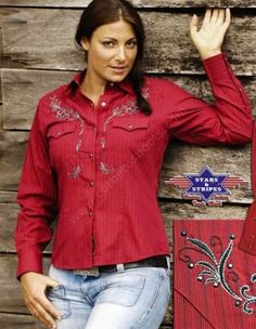 Corbeto's Boots | 50-BONNIE | Camisa vaquera Stars & Stripes roja con bordados para mujer | Stars & Stripes cowgirl red shirt with embroideries