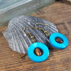 Turquoise Shell Earrings  by MySoulCanDance.Etsy.com