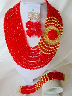 Nigerian Wedding Jewelry Set Hot Sale African Red Crystal Beads Jewelry Set Big Costume Jewelry Set Free Shipping CPS-3377 $58.58