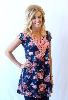 Floral Lace Print Tunic Dress