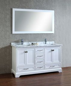 Malibu 60 Inch Carrara Marble Top Pure White Double Sink Bathroom Vanity |  Overstock.com Shopping   The Best Deals On Bathroom Vanities | For The Home  ...
