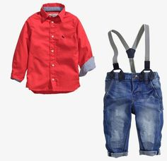 Baby Boys 2 Piece Tracksuit Shirt + Blue Jean Trousers Casual Wear 100% Cotton Imported