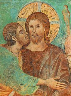 Cimabue - La Cattura di Cristo (particolare) -  Affresco - Basilica superiore di San Francesco, Assisi