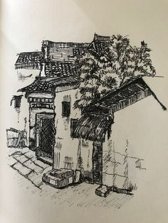 china old village  ink