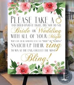 Don't Say Bride or Wedding Floral Pink and Gold Bridal Shower Game - Please Take A Ring - Bachelorette Game - Guessing Game - 0002-G by ABridalStory on Etsy