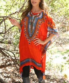 Look at this #zulilyfind! Orange & Red Arabesque Cape-Sleeve Dress by Ananda's Collection #zulilyfinds
