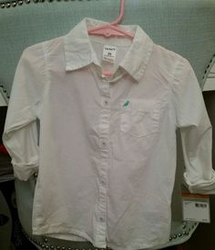 Carter's NWT 100% Cotton Girl's Toddler Solid White Button Down Shirt Size 3T #Carters