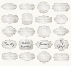 """Wood Frames Clipart: """"WHITE WOODEN FRAMES"""" Wooden labels, distressed wood buttons, grey wood, light, digital tags, clip art pack, borders #etsy #texture"""