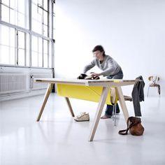 Line Depping - Borrod Table Bureau Design, Desk Storage, Built In Storage, Design Furniture, Kids Furniture, Ikea Table Legs, Best Desk, Palette, Workspace Inspiration