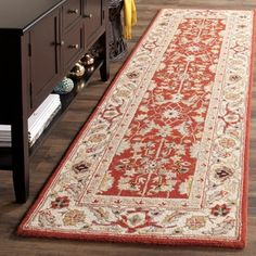 Shop for Safavieh Hand-hooked Chelsea Red/ Ivory Wool Rug (2'6 x 10'). Get free shipping at Overstock.com - Your Online Home Decor Outlet Store! Get 5% in rewards with Club O!