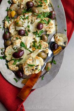 Roasted Cauliflower with Olives and Herbs | Gourmande in the Kitchen