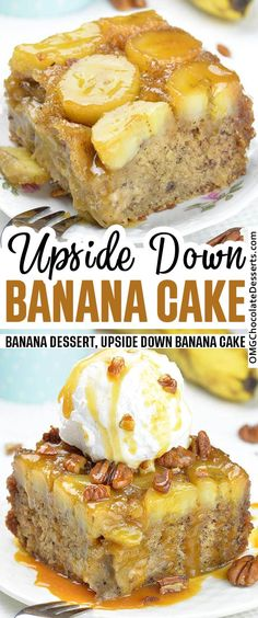 Banana Upside Down Cake – incredibly moist and flavorful dessert You can't go wrong with a caramel sauce topping, thick banana slices, and soft rich banana upside down cake! This cake is moist, fluffy, delicious and will have you go bananas. Banana Dessert Recipes, Strawberry Desserts, Banana Bread Recipes, Cheesecake Recipes, Recipes With Bananas, Cheesecake Strawberries, Cookie Recipes, Snack Recipes, Desserts Ostern