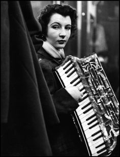 Robert Doisneau Accordioniste Playing in a Bistro Near Les Halles, Paris Robert Doisneau, French Photographers, Street Photographers, Willy Ronis, Henri Cartier Bresson, French Street, Vintage Paris, French Vintage, Vintage Kiss