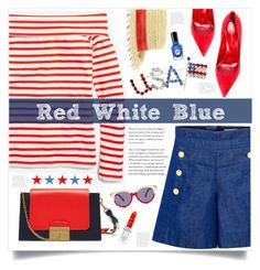 """""""Red White Blue"""" by mmk2k ❤ liked on Polyvore featuring J.Crew, CO, Sergio Rossi, Mulberry, BCBGeneration, Preen, Rodin, Summer, holiday and fourthofjuly"""