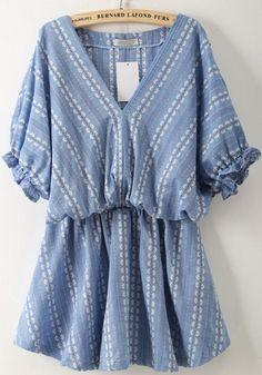 Blue Floral Ruffle V-neck Elbow Sleeve Sweet Mini Dress
