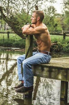 Sexy Country Guy Out shirtless by the lake showing his body and tatts Rugged Men, Country Men, Many Men, Dream Guy, Male Beauty, Male Body, Boys Who, Beautiful Men, Hot Guys