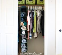Use skinny hanging shoe organizer for pants & sweaters    Creative closet solutions -- Ask Anna