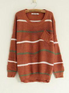 Striped Round Neck Red Sweater$39.00