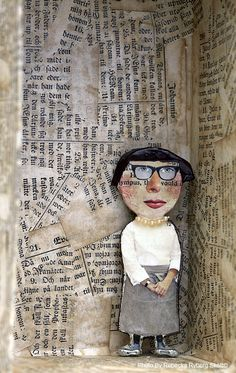 julie arkell paper clay- reminds me of 7th grade teacher but no glasses